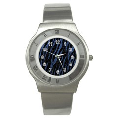 Skin3 Black Marble & Blue Stone Stainless Steel Watch by trendistuff