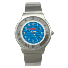 Fish Line Sea Beach Swim Red Blue Stainless Steel Watch by Alisyart