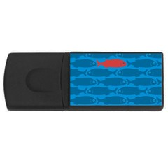 Fish Line Sea Beach Swim Red Blue Usb Flash Drive Rectangular (4 Gb) by Alisyart