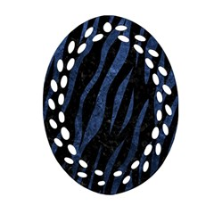 Skin3 Black Marble & Blue Stone Ornament (oval Filigree) by trendistuff