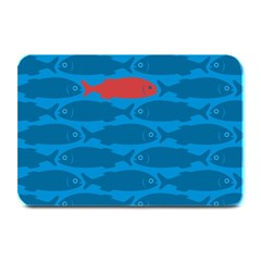 Fish Line Sea Beach Swim Red Blue Plate Mats by Alisyart