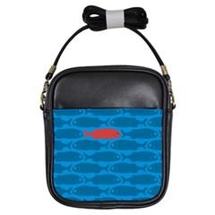 Fish Line Sea Beach Swim Red Blue Girls Sling Bags by Alisyart