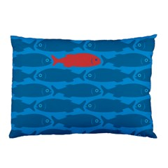 Fish Line Sea Beach Swim Red Blue Pillow Case (two Sides) by Alisyart