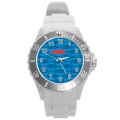 Fish Line Sea Beach Swim Red Blue Round Plastic Sport Watch (l) by Alisyart