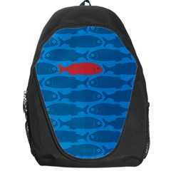 Fish Line Sea Beach Swim Red Blue Backpack Bag by Alisyart