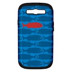 Fish Line Sea Beach Swim Red Blue Samsung Galaxy S Iii Hardshell Case (pc+silicone) by Alisyart
