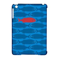 Fish Line Sea Beach Swim Red Blue Apple Ipad Mini Hardshell Case (compatible With Smart Cover) by Alisyart