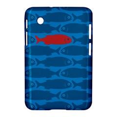 Fish Line Sea Beach Swim Red Blue Samsung Galaxy Tab 2 (7 ) P3100 Hardshell Case  by Alisyart