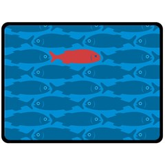 Fish Line Sea Beach Swim Red Blue Double Sided Fleece Blanket (large)  by Alisyart