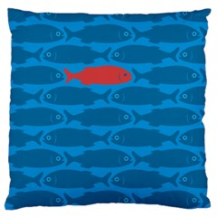 Fish Line Sea Beach Swim Red Blue Standard Flano Cushion Case (one Side) by Alisyart