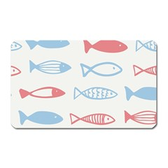 Fish Swim Sea Beach Red Blue White Magnet (rectangular) by Alisyart