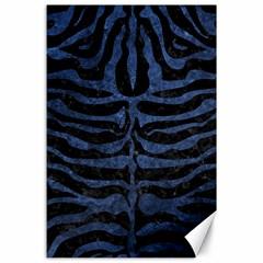 Skin2 Black Marble & Blue Stone Canvas 24  X 36  by trendistuff