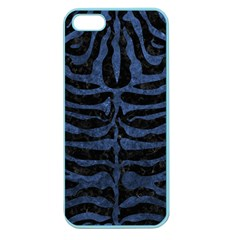 Skin2 Black Marble & Blue Stone Apple Seamless Iphone 5 Case (color) by trendistuff