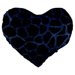 Skin1 Black Marble & Blue Stone (r) Large 19  Premium Heart Shape Cushion by trendistuff