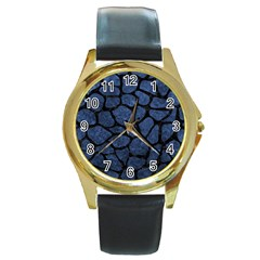 Skin1 Black Marble & Blue Stone Round Gold Metal Watch by trendistuff