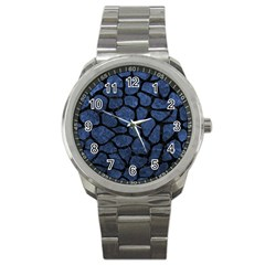 Skin1 Black Marble & Blue Stone Sport Metal Watch by trendistuff