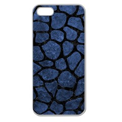 Skin1 Black Marble & Blue Stone Apple Seamless Iphone 5 Case (clear) by trendistuff