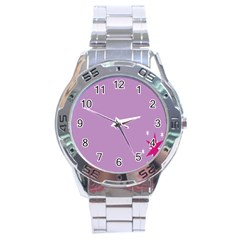 Purple Flagred White Star Stainless Steel Analogue Watch by Alisyart