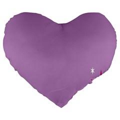 Purple Flagred White Star Large 19  Premium Heart Shape Cushions by Alisyart