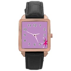 Purple Flagred White Star Rose Gold Leather Watch  by Alisyart