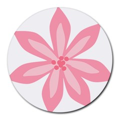 Pink Lily Flower Floral Round Mousepads