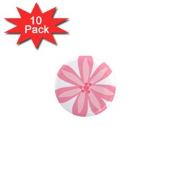 Pink Lily Flower Floral 1  Mini Magnet (10 Pack)  by Alisyart