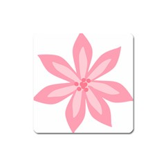 Pink Lily Flower Floral Square Magnet by Alisyart