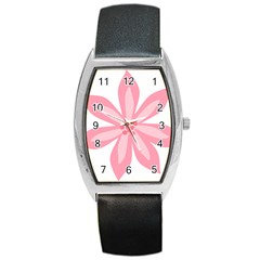 Pink Lily Flower Floral Barrel Style Metal Watch by Alisyart