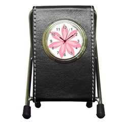 Pink Lily Flower Floral Pen Holder Desk Clocks by Alisyart
