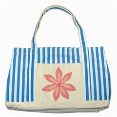 Pink Lily Flower Floral Striped Blue Tote Bag by Alisyart
