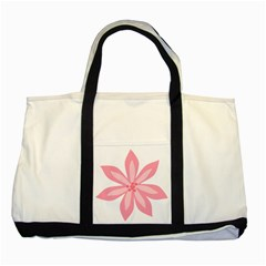 Pink Lily Flower Floral Two Tone Tote Bag by Alisyart
