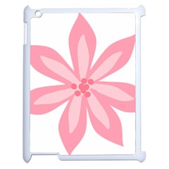 Pink Lily Flower Floral Apple Ipad 2 Case (white) by Alisyart