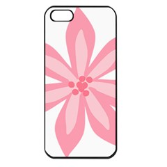 Pink Lily Flower Floral Apple Iphone 5 Seamless Case (black) by Alisyart