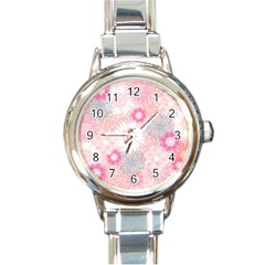 Flower Floral Sunflower Rose Pink Round Italian Charm Watch by Alisyart