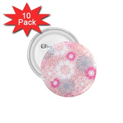 Flower Floral Sunflower Rose Pink 1 75  Buttons (10 Pack) by Alisyart