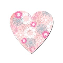 Flower Floral Sunflower Rose Pink Heart Magnet by Alisyart