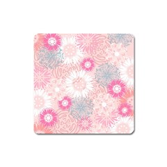 Flower Floral Sunflower Rose Pink Square Magnet by Alisyart