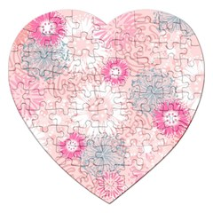 Flower Floral Sunflower Rose Pink Jigsaw Puzzle (heart) by Alisyart