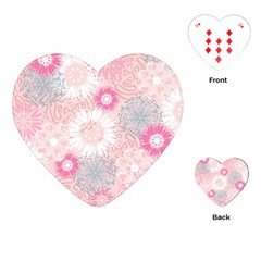 Flower Floral Sunflower Rose Pink Playing Cards (heart)  by Alisyart