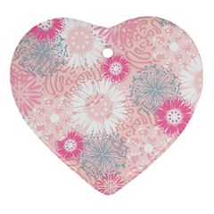 Flower Floral Sunflower Rose Pink Heart Ornament (two Sides) by Alisyart