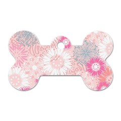 Flower Floral Sunflower Rose Pink Dog Tag Bone (one Side) by Alisyart
