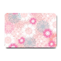 Flower Floral Sunflower Rose Pink Small Doormat  by Alisyart