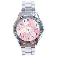 Flower Floral Sunflower Rose Pink Stainless Steel Analogue Watch by Alisyart