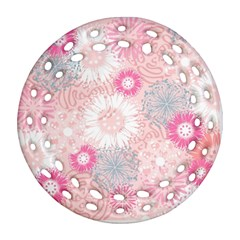 Flower Floral Sunflower Rose Pink Ornament (round Filigree) by Alisyart