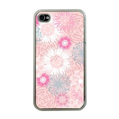 Flower Floral Sunflower Rose Pink Apple Iphone 4 Case (clear) by Alisyart