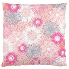 Flower Floral Sunflower Rose Pink Large Cushion Case (one Side) by Alisyart