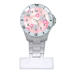 Flower Floral Sunflower Rose Pink Plastic Nurses Watch by Alisyart