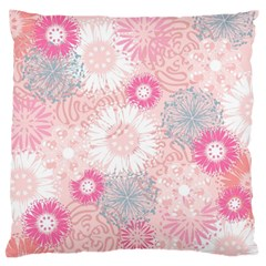 Flower Floral Sunflower Rose Pink Standard Flano Cushion Case (two Sides) by Alisyart
