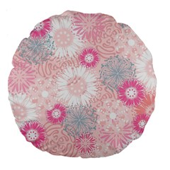 Flower Floral Sunflower Rose Pink Large 18  Premium Flano Round Cushions by Alisyart