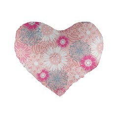 Flower Floral Sunflower Rose Pink Standard 16  Premium Flano Heart Shape Cushions by Alisyart